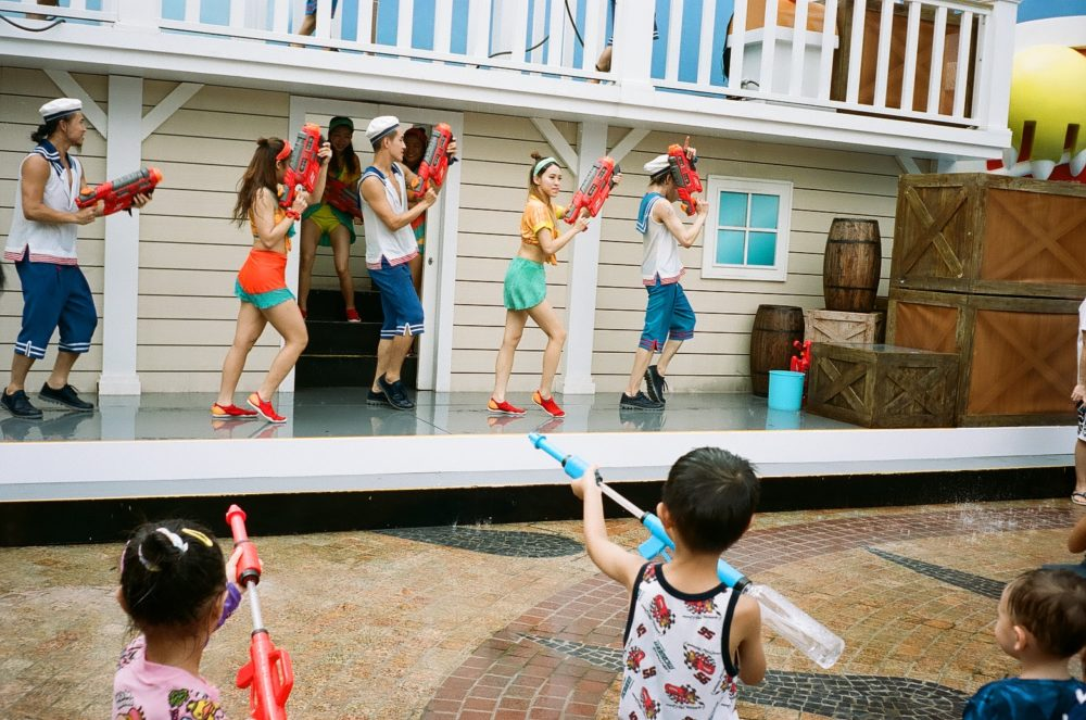 children with water guns at Ocean Park, Hong Kong