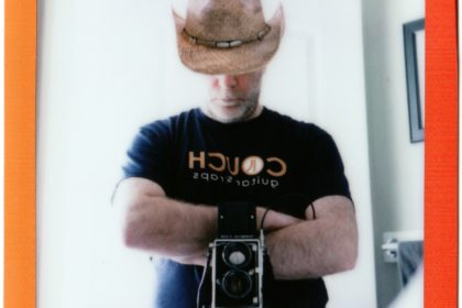 cowboy selfie shot with Mamiya C220 on Instax Mini film