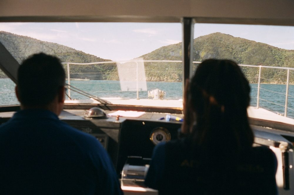 on a boat in Queen Charlotte Sound, New Zealand