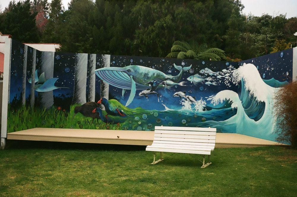 kiwi & whale mural at Historic Village, Tauranga, NZ