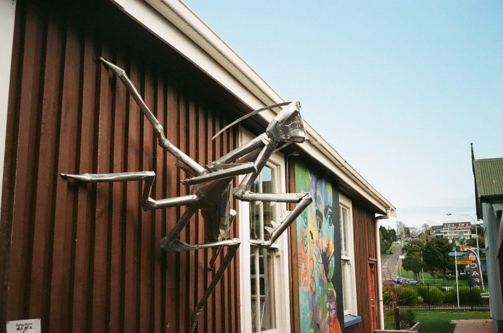 metal praying mantis art at Historic Village, Tauranga, NZ