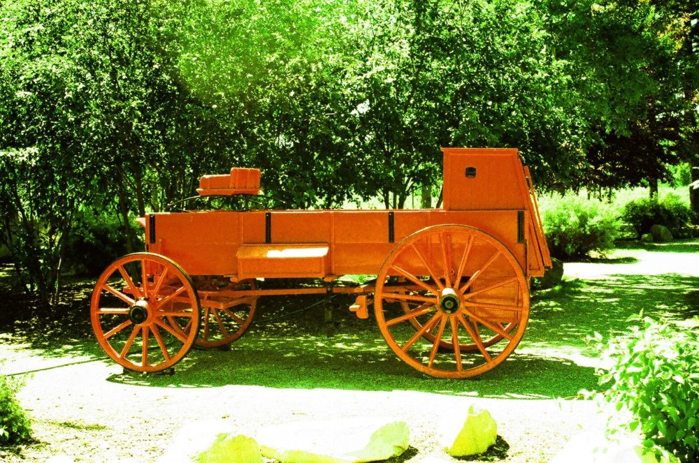 wagon at Bow Valley Ranch in Fish Creek Park