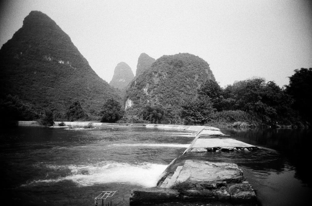 Yangshuo countryside river on Double-X 5222 film