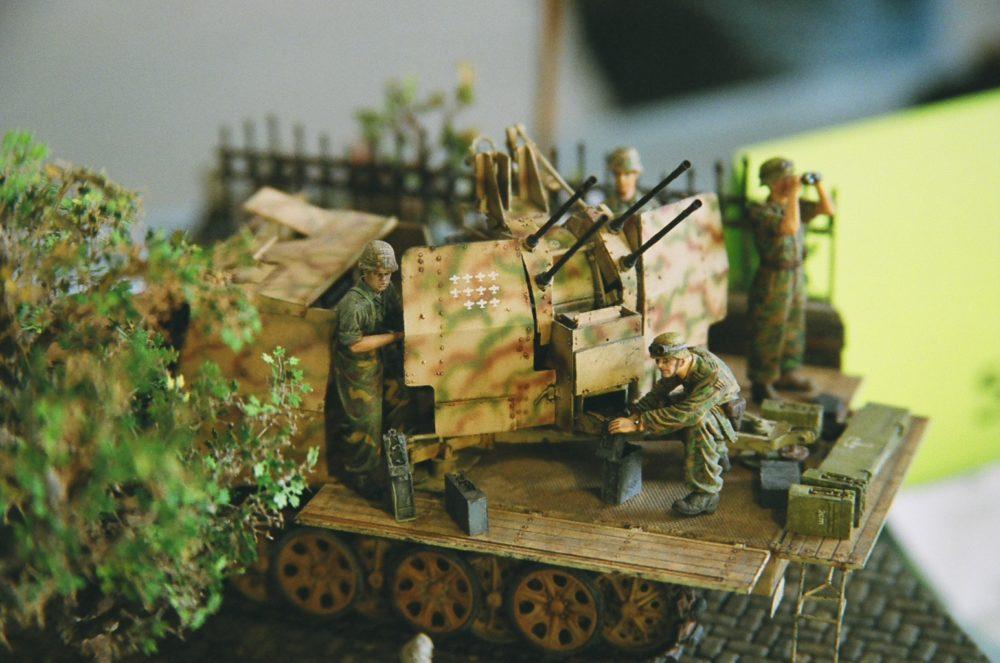 anti-aircraft guns and crew