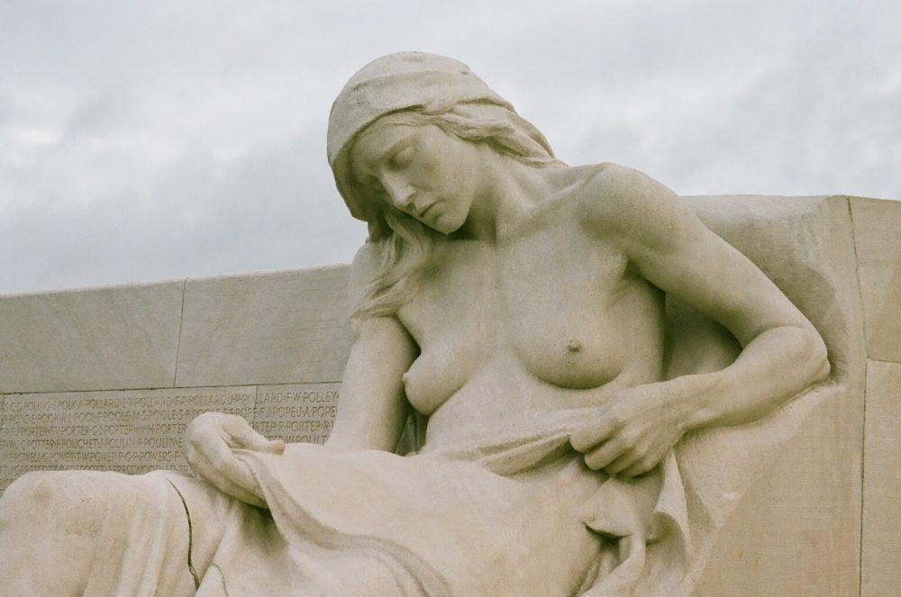 statue of female mourner at Vimy Memorial
