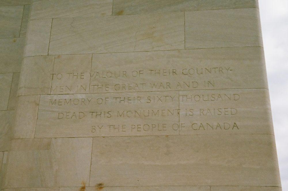 Vimy Memorial inscription