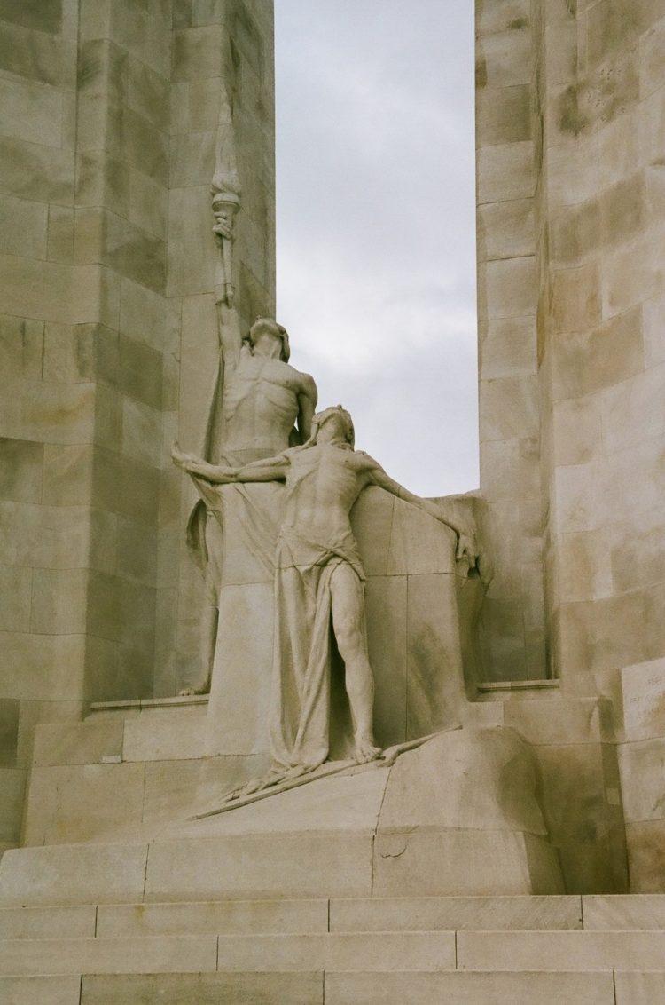 statue of the Spirit of Sacrifice at Vimy Memorial