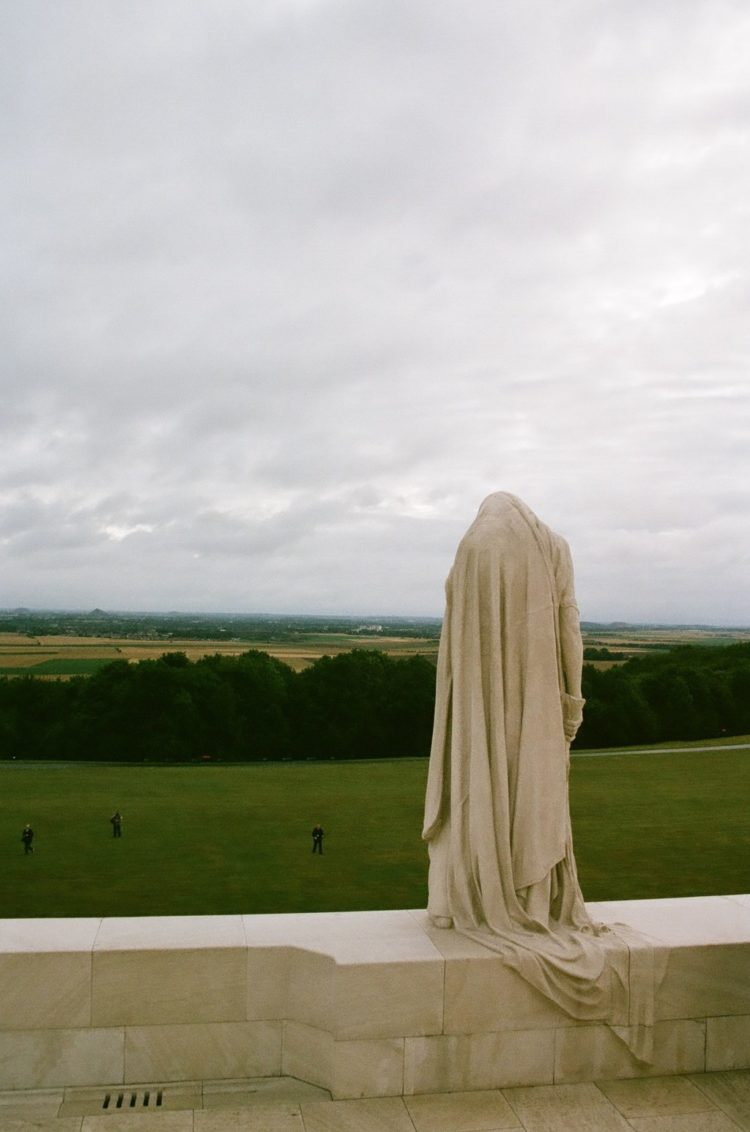 statue of Canada Bereft looking over the plain at Vimy Memorial