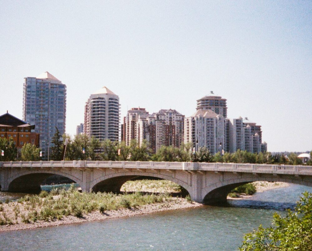 Calgary skyline from Memorial Drive / Bow River