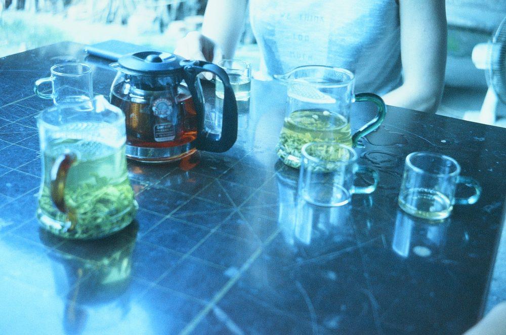 enjoying a variety of teas in Emeishan, China
