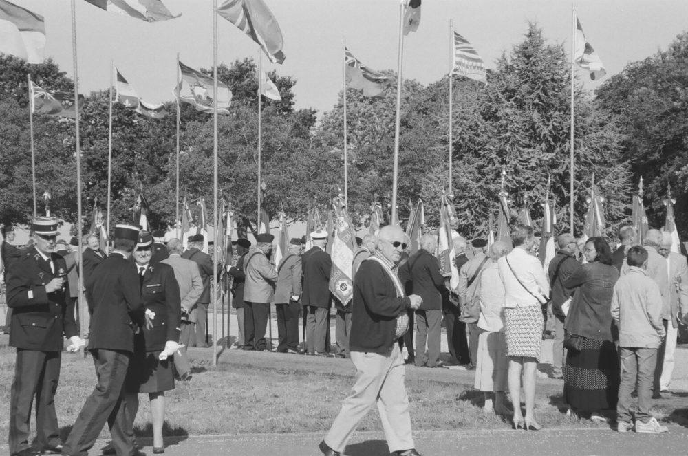 Gathering outside Bretteville-sur-Laize Canadian War Cemetery, France