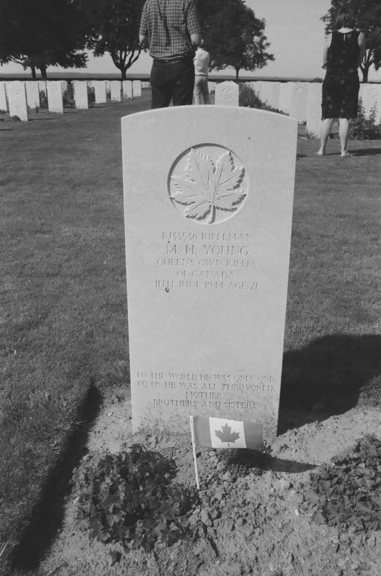 Grave of Rifleman M. H. Young, Queen's Own Rifles of Canada, Bretteville-sur-Laize, France