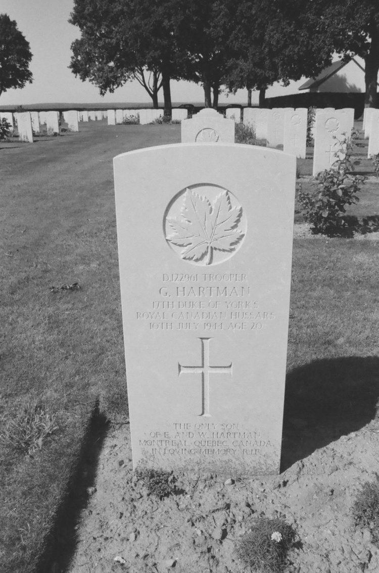 Grave of Trooper G. Hartman, 17th Duke of York's Royal Canadian Hussars, Bretteville-sur-Laize, France