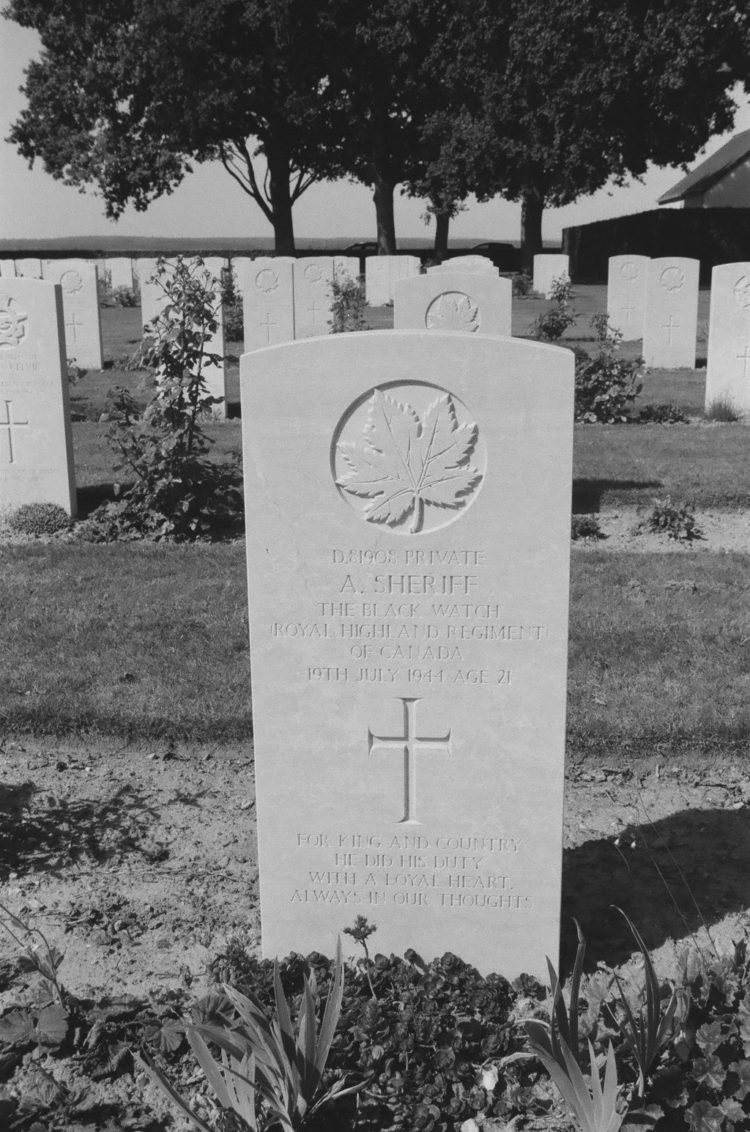 Grave of Private A. Sheriff, The Black Watch, Bretteville-sur-Laize, France