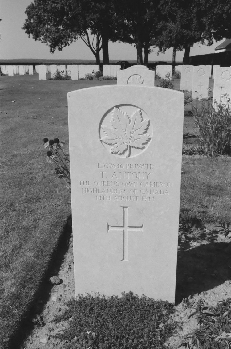 Grave of Private T. Antony, The Queen's Own Cameron Highlanders of Canada, Bretteville-sur-Laize, France