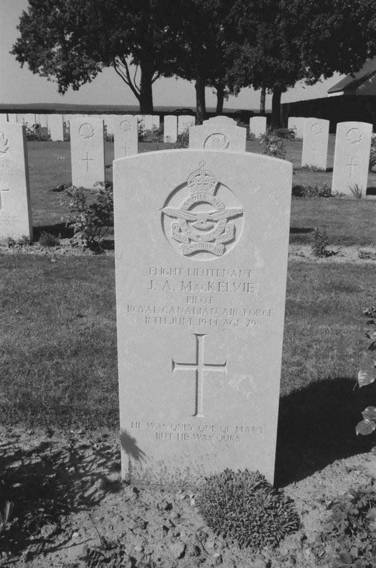 Grave of Flight Lieutenant J. A. MacKelvie, Pilot, RCAF, Bretteville-sur-Laize, France