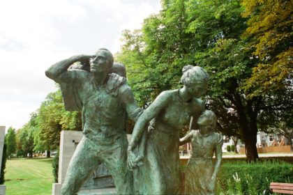 statue of immigrants at Hastings Park, Vancouver, BC