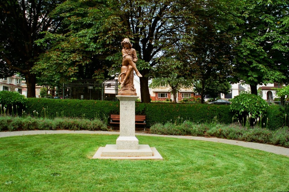 statue of a young Christopher Columbus at Hastings Park