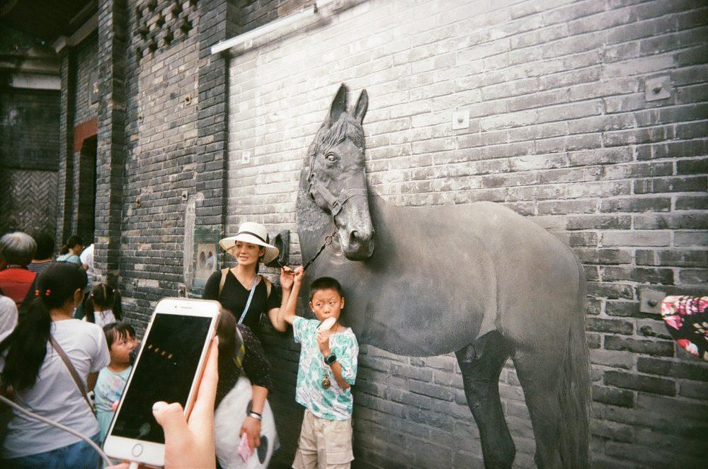horse art outside Chengdu People's Park